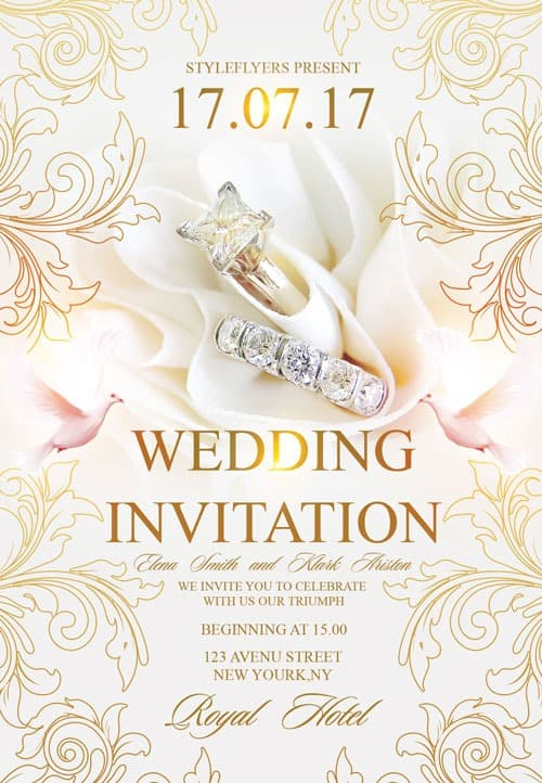 Freepsdflyer  Free Wedding Invitation Flyer Template  Download