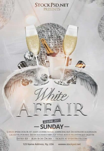 White Affair Party Free Club Flyer Template