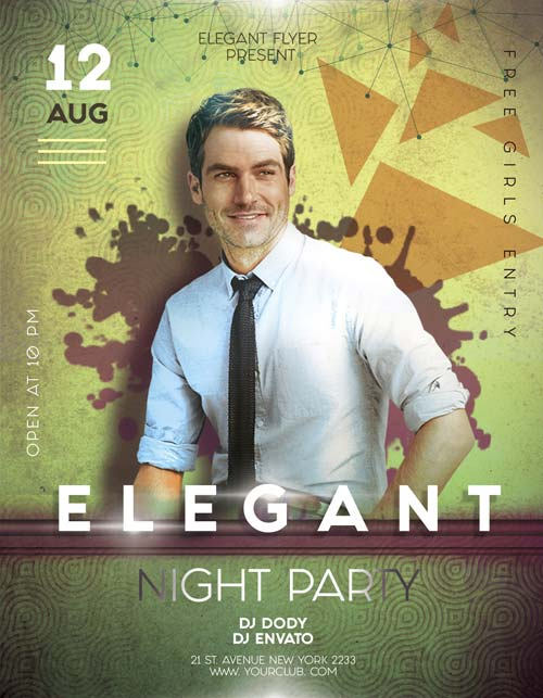 Download the best free dj flyer psd templates for photoshop elegant party night free flyer template pronofoot35fo Images