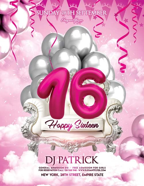 Happy Sixteen Birthday Free Flyer Template