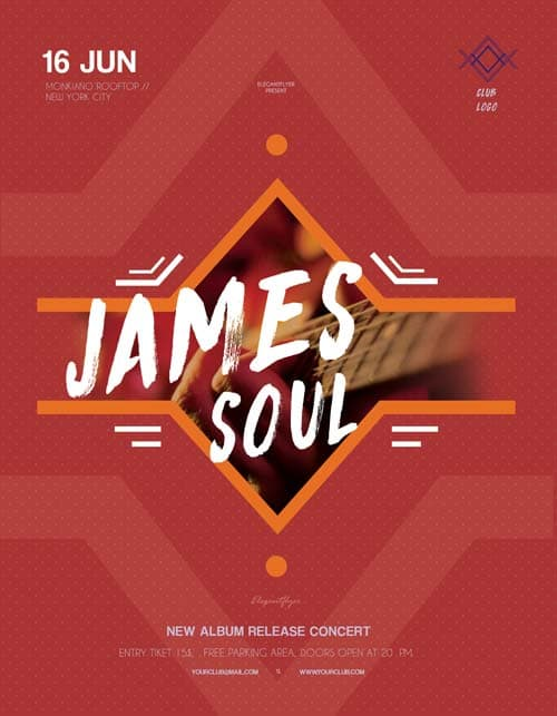 James Soul Concert Free Flyer Template  Download Free Flyer