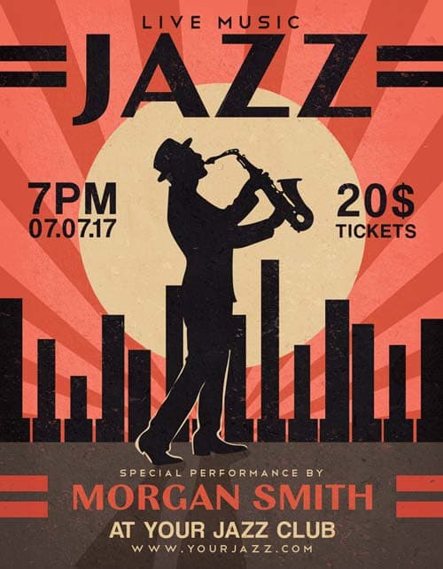 Jazz Music Night Free Flyer Template