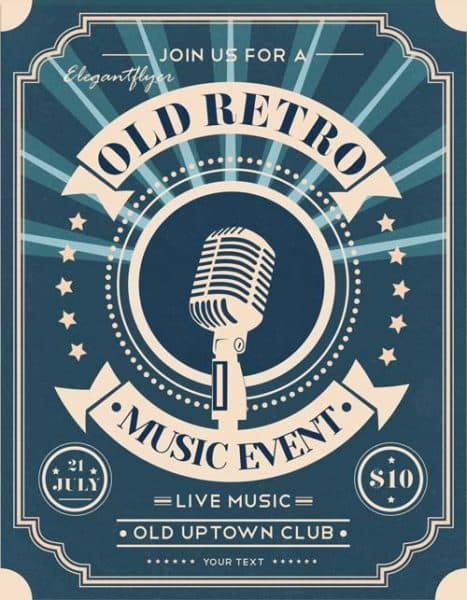 Old Retro Music Night Free Flyer Template
