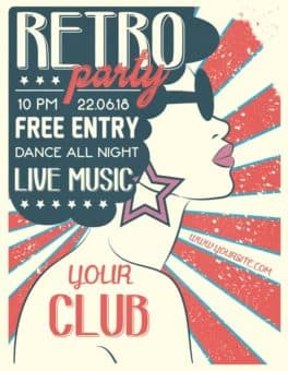 Retro Music Party Free Flyer Template