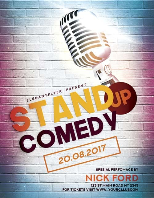 Freepsdflyer  Stand Up Comedy Free Flyer Template  Download Free