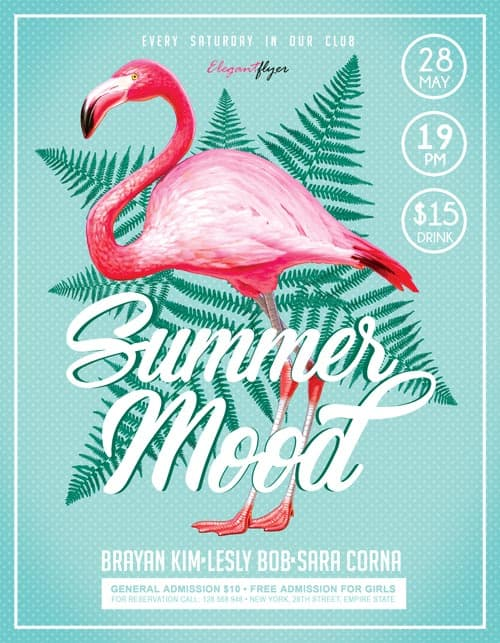 Summer Mood Party Free Flyer Template