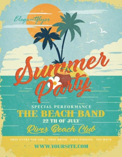 Summer Party Flyer Free PSD Template
