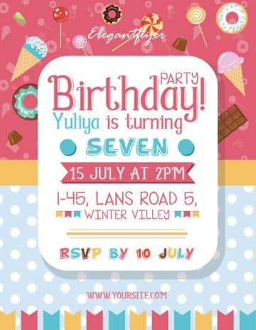 Sweet Birthday Party Free Flyer Template