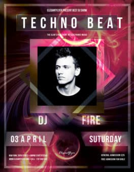 Techno Beat Party Free Flyer Template