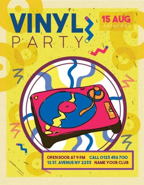 Free Vinyl Retro Party Flyer Template
