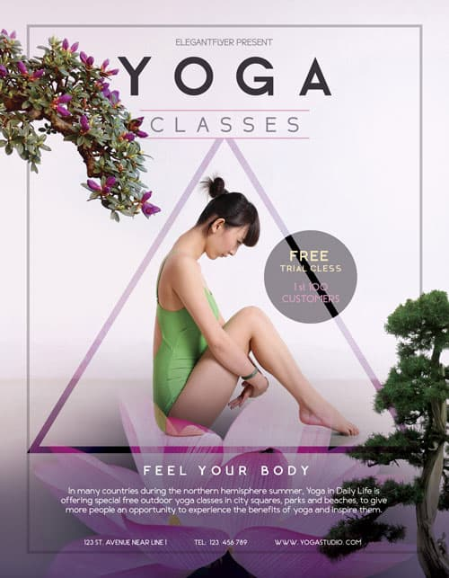 Freepsdflyer  Free Yoga Flyer Template  Download Free Psd Flyer