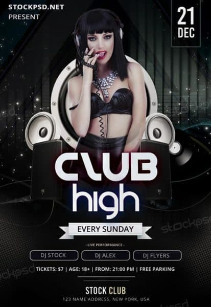 Club High Party Free Flyer Template
