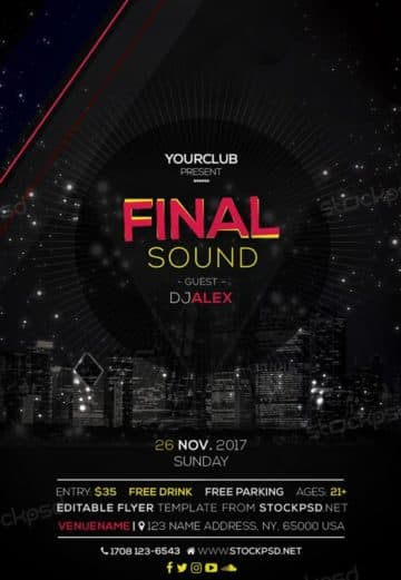 Final Sound Free EDM Flyer Template