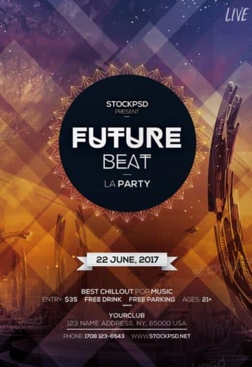 Future Beat Party Free Flyer Template