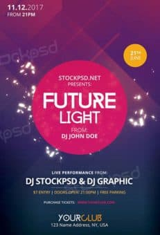 Future Light Party Free Flyer Template