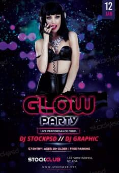 Glow Party Free Flyer Template