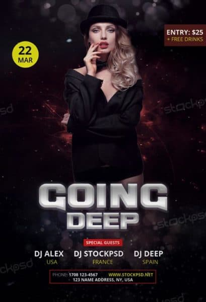 Going Deep Party Free Flyer Template
