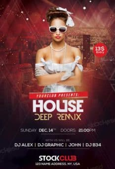 House Deep Remix Party Free Flyer Template