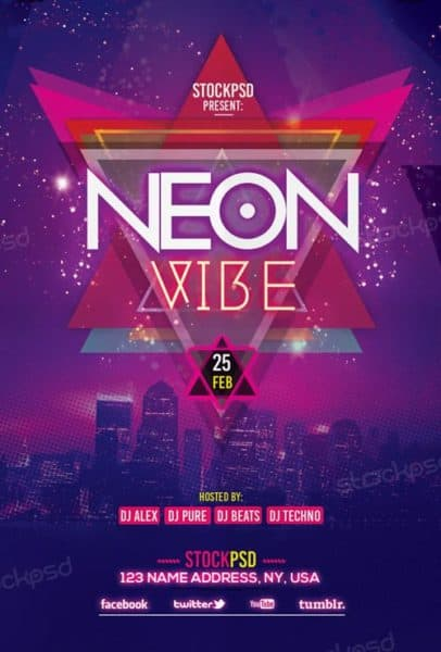 Neon Vibe Free Flyer Template