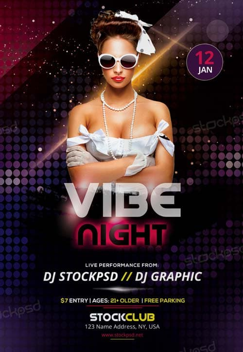 Vibe Night Free Party Flyer Template Download Free Electro Flyer