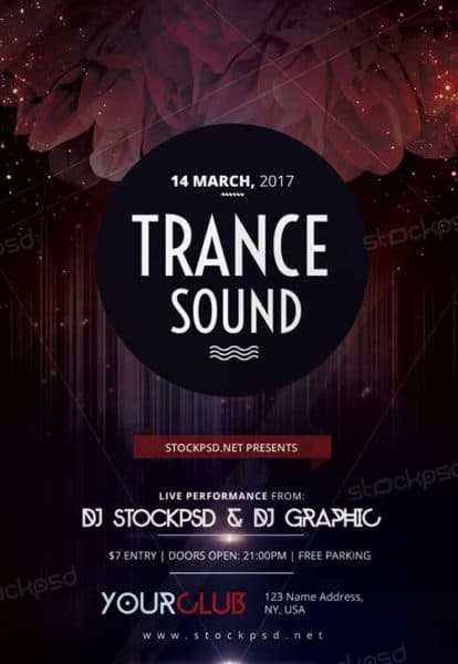 Trance Sound Free Party Flyer Template