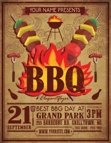 Vintage BBQ Free Party Flyer Template