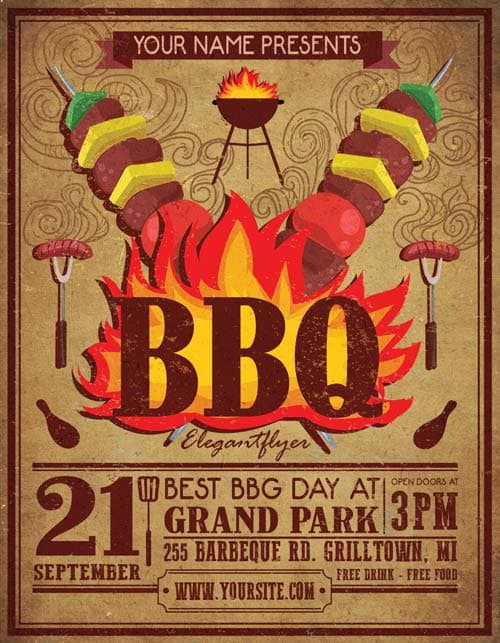 Freepsdflyer  Vintage Bbq Free Party Flyer Template  Download Free