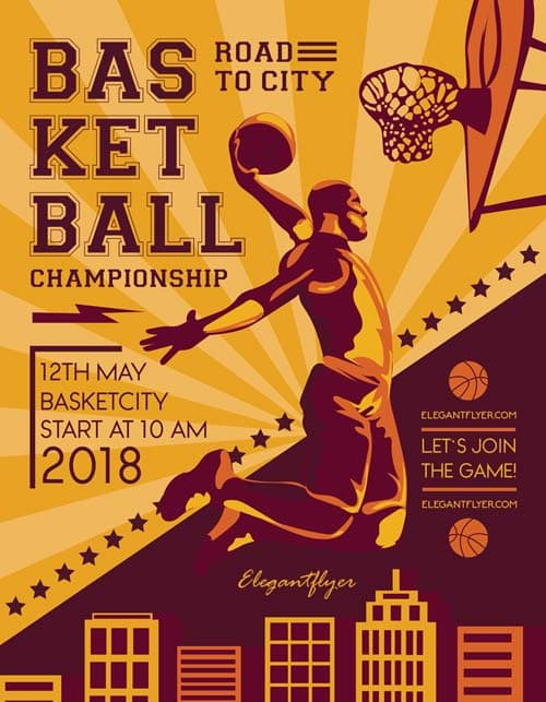 Basketball Match Free Sport Flyer Template Download Free