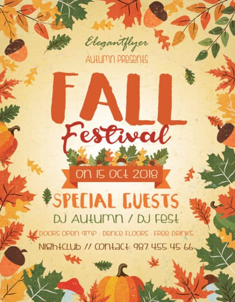 fall festival free autumn flyer template