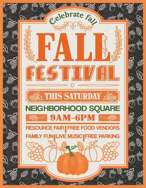 fall festival free party flyer template download free flyer. Black Bedroom Furniture Sets. Home Design Ideas