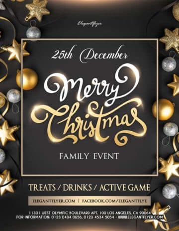 Family Christmas Free Event Flyer Template