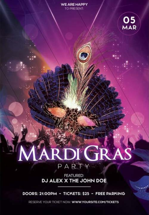 Free Mardi Gras Party Flyer Template