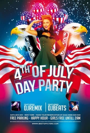4th July Poster and Flyer PSD Template