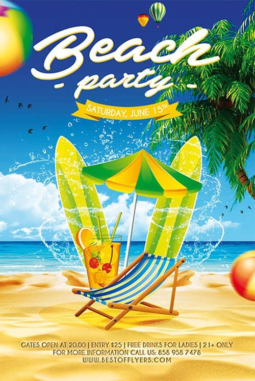 Freepsdflyer  Free Beach Party Poster Template  Download Freebies Now