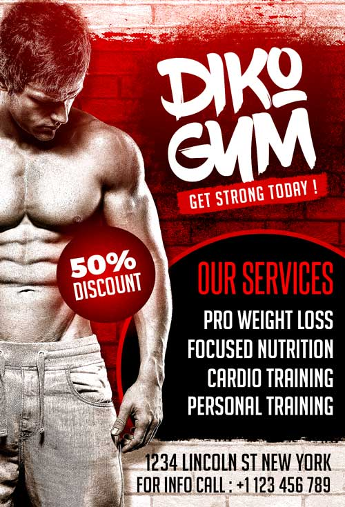 free gym psd flyer template download free sports and gym flyer