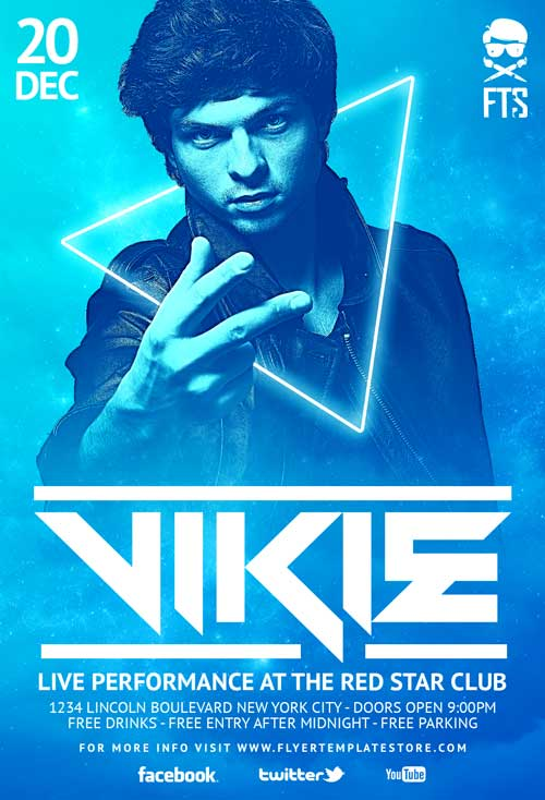 Dj Vikie Free Psd Flyer Template