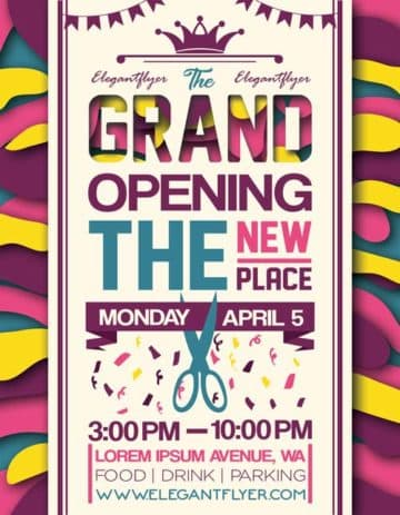 Grand Opening Party Event Free Flyer Template