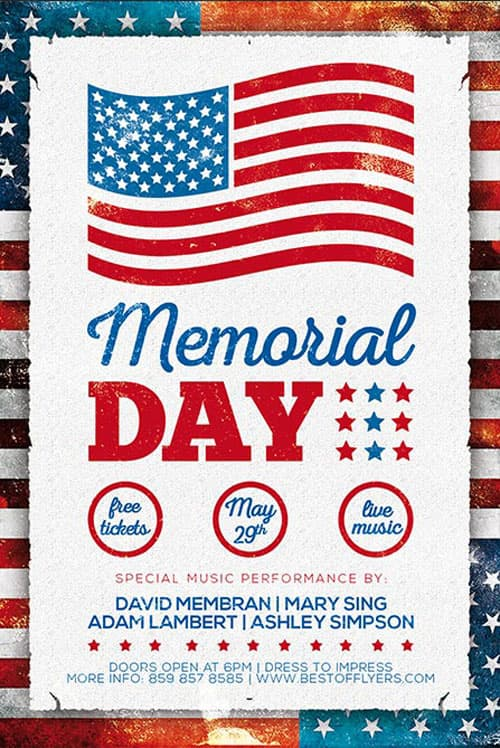 free memorial day poster template download freebies now