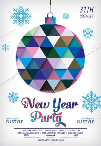 New Year Free Party PSD Flyer Template