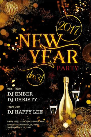 New Year Party Free Flyer Template