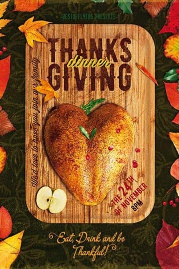 Thanksgiving Dinner Free Poster and Flyer PSD Template