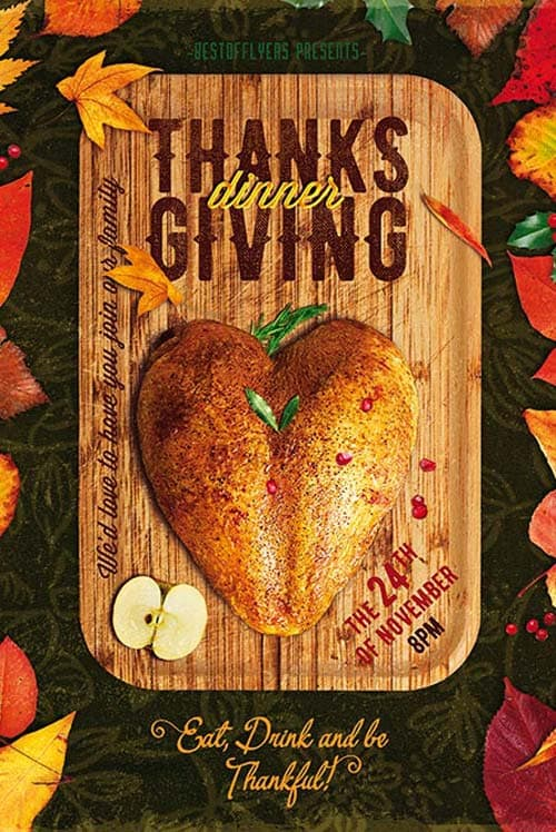 thanksgiving dinner free poster and flyer psd template for