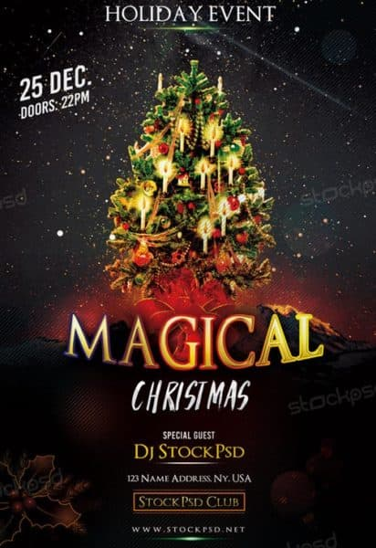 Magical Christmas Free Flyer Template