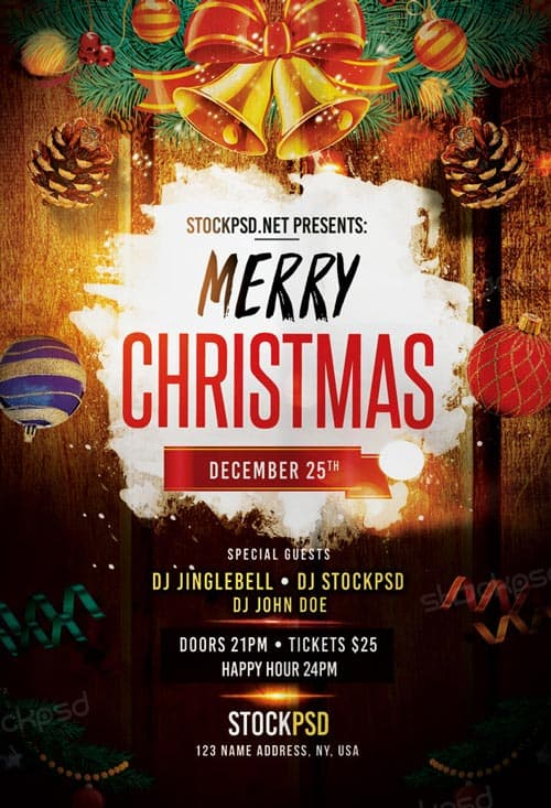 merry christmas party free flyer template