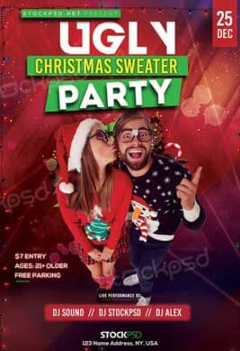 Ugly Christmas Sweater Free Party Flyer Template