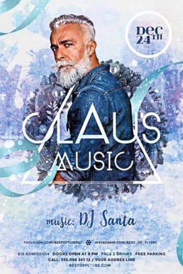 DJ Claus Music Party Free PSD Flyer Template