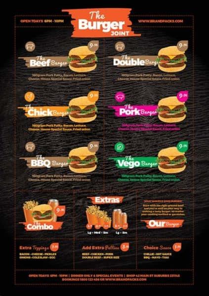 Fast food menu free poster template for photoshop and illustrator for Photoshop menu template