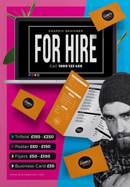 Freelancer For Hire Free Poster Template