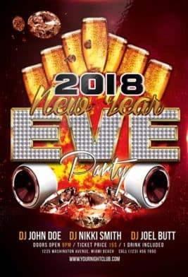 Happy New Year 2018 Party Free Flyer Template