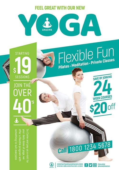 Freepsdflyer  Free Yoga Flyer And Poster Template For Photoshop And